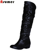 AISIMI Plus Size 2015 New Arrive Winter Mid Calf Women Boots Black White Brown Flat Heels