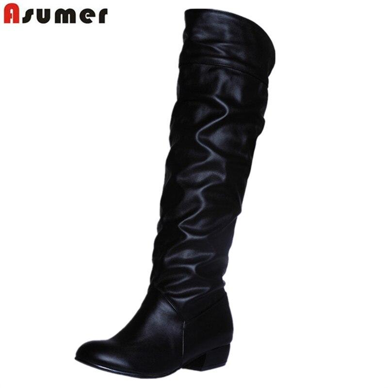 Asumer/модные Лидер продаж Новое поступление, женские ботинки черного, белого и коричневого цветов на низком каблуке сапоги без шнуровки на осень-зиму Дамские высокие сапоги