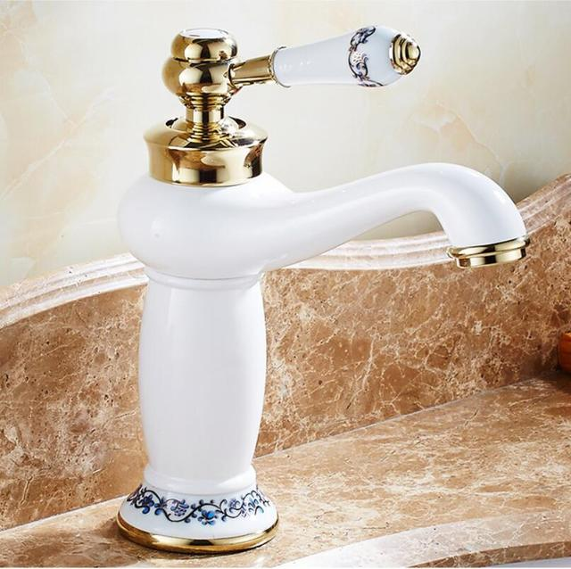 Basin Faucet Gold And White Wash Luxury Bathroom Taps Single Handle Vanity
