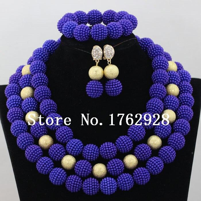 Purple Pink Nigerian Wedding Beads Balls Jewelry Sets African ...