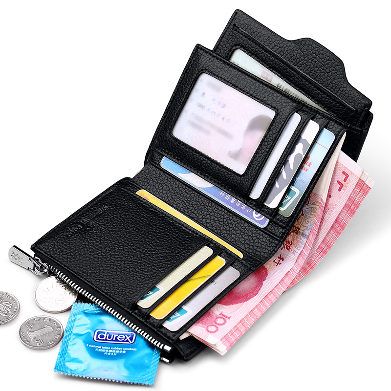 WilliamPOLO Bifold Wallet Men Genuine Leather Jeans Wallet With Movable Card Holder Coin Pocket Gift Bag Black Brown
