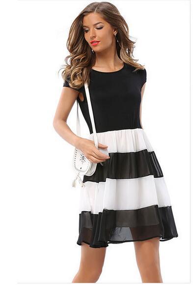 Мода 2018 Для женщин летнее платье черно-белые полосы шить шифоновое платье Элегантные повседневные летние платья Для женщин