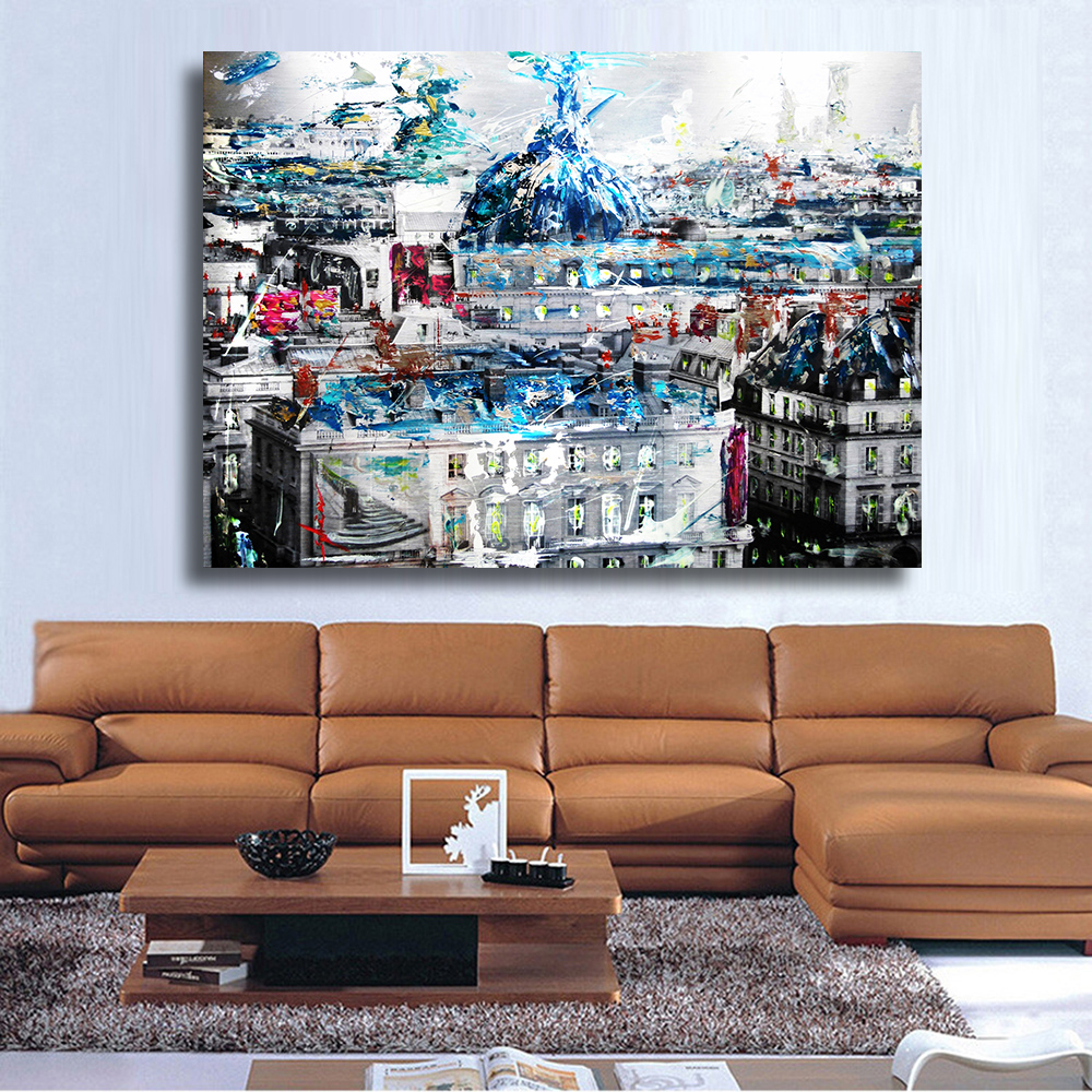 HDARTISAN City Building Graffiti On Street Art Painting Canvas Wall Pictures For Living Room Home