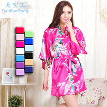 2017 Sexy Short robe Woman Peacock Printed Silk Kimono Robes Bridesmaids Long Kimono Robe Bride Silk Robe Dressing Gown(China)