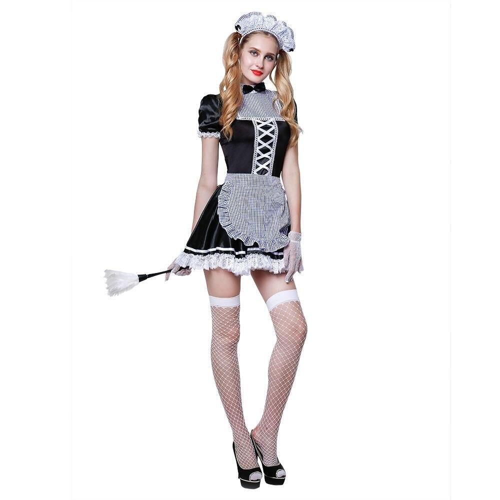 Femmes chaud Sexy dentelle servante Costume ensemble français nuisette robe Lingerie Halloween Costumes exotique servante Cosplay robe
