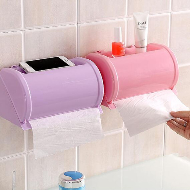 Space Saver Paper Towel Hanging Shelf Toilet Paper Holder Organization  Storage Box For Kitchen Supplies