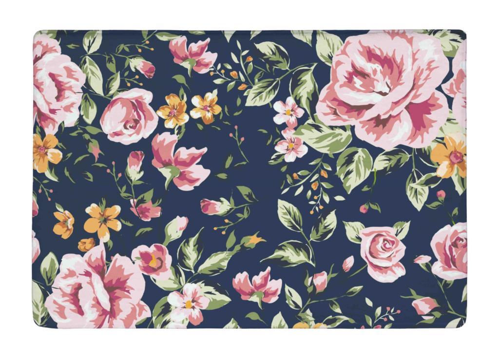 floor mat black vintage pink watercolor floral allover print non