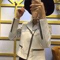 Arlene sain novas mulheres cortar design com zíper inclinado casaco de camurça de couro de importação frete grátis