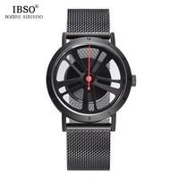 IBSO Brand Fashion Creative Wheel Design Rotate Sport Quartz Watch Men Locomotive Punk Style Mens Watches 2018 Relogio Masculino
