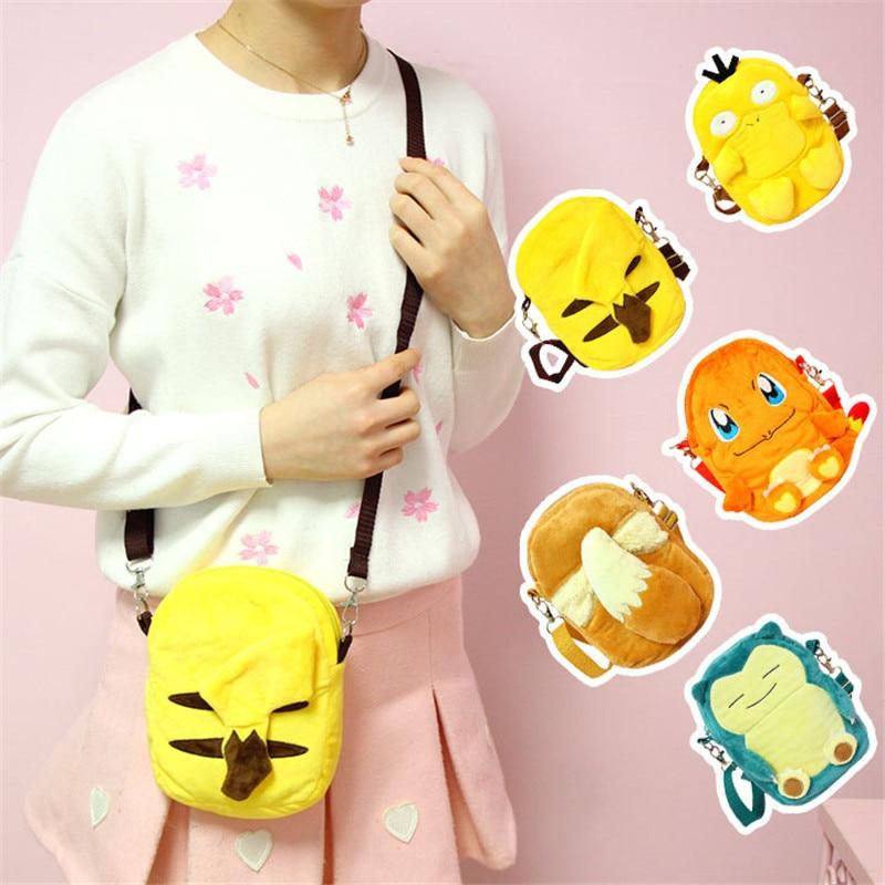 Cartoon Pokemon Women Shoulder Bag Pocket Monsters Pikachu Psyduck Charmander Eevee Small Crossbody Bags Messenger Phone Bags