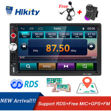Автомагнитола Hikity, 2 din, RDS, GPS, навигация, FM, Bluetooth, мультимедиа, видео плеер с микрофоном, дистанционное управление, стерео