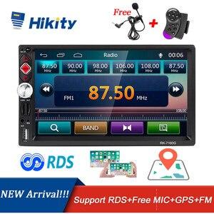 Image 1 - Автомагнитола Hikity, 2 din, RDS, GPS, навигация, FM, Bluetooth, мультимедиа, видео плеер с микрофоном, дистанционное управление, стерео