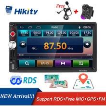Hikity radio samochodowe 2 din autoradio RDS nawigacja GPS FM Bluetooth multimedialny odtwarzacz wideo z mikrofonem pilot Stereo