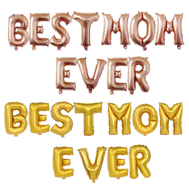 Gold Best Mom Ever Letter Ballloons 16 Happy Mothers Day Balloons For Mother Festival Mama Gift Party Supply