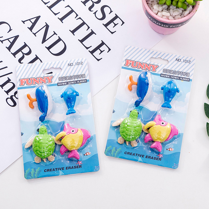 4 Pcs/set Marine Animals Eraser Whale Fish Sea Turtle Shape Rubber Eraser Kawaii Stationery School Supplies Papelaria Kids Gifts