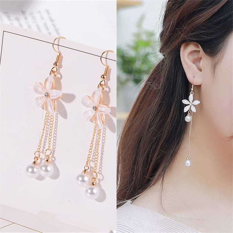 2018 Fashion Clear Crystal Five-leaf Flower Long Statement Metal Chain Tassel Simulated Pearl Drop Earrings For Women Jewelry