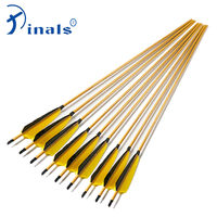 Inals Archery Spine 400 500 600 Carbon Arrows ID 6.2mm Bamboo Skin Shafts Turkey Feathers Compound Recurve Bow Hunting 12PCS