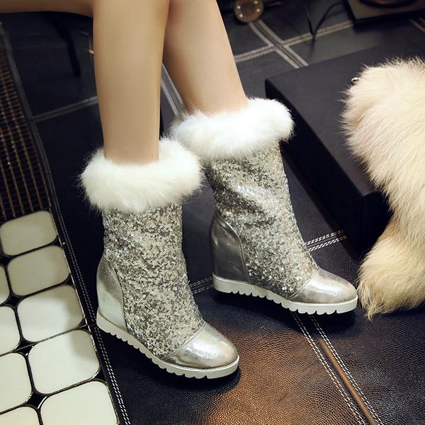 ФОТО 2014 autumn Paillette wedges snow boots fur medium-leg boots platform high-heeled half knee shoes fashion high heels fur boots