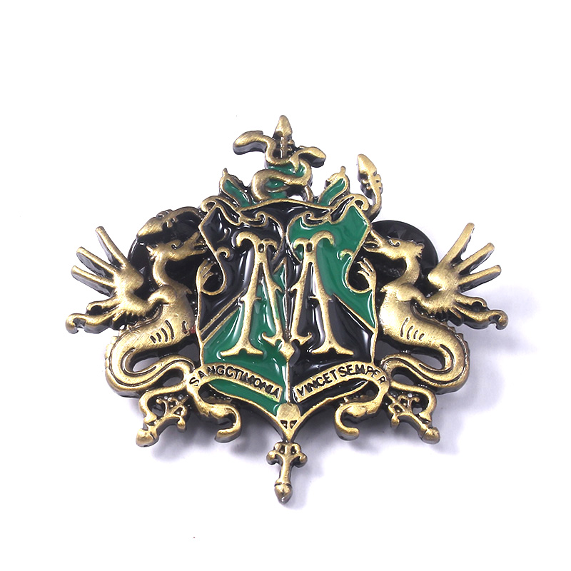 Slytherin Draco Malfoy Family Enamel BROOCHES PINS Hogwarts Broomsticks 2000 Badge Women Lapel Pin Denim Jewelry