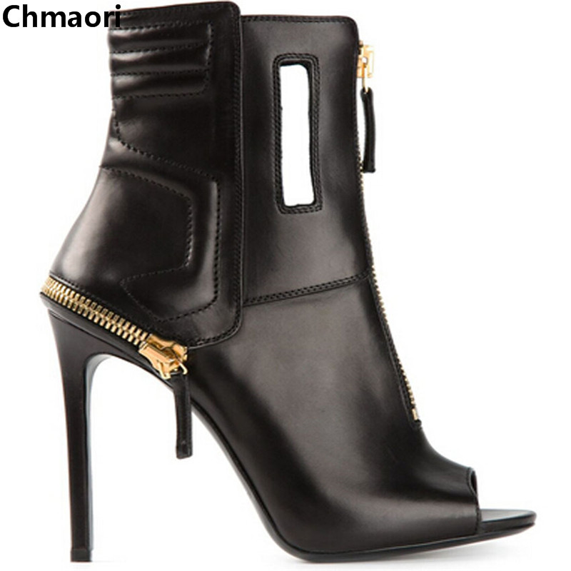 newest design peep toe zipper design thigh high woman boots black genuine leather ankle boots for woman autumn motorcycle boots