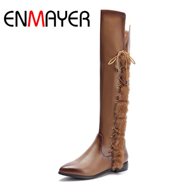 ФОТО ENMAYER Big Size 34-39 Advanced Full Grain Leather Boots Over Knee High Pointed Toe Zip Boots For Women New Fashion Boots