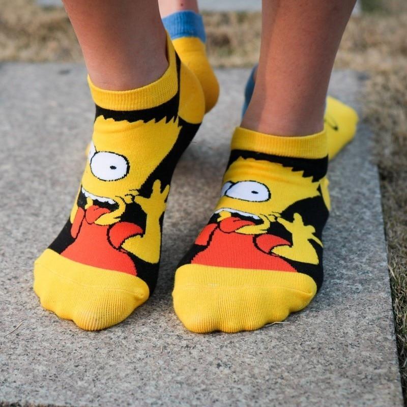 4pair 2019 New Arrival Cartoon Simpson Family Kawaii Big Eyes Cartoon Ankle   Socks   Yellow Couples Fashion Woman   Sock   Unisex 36-43