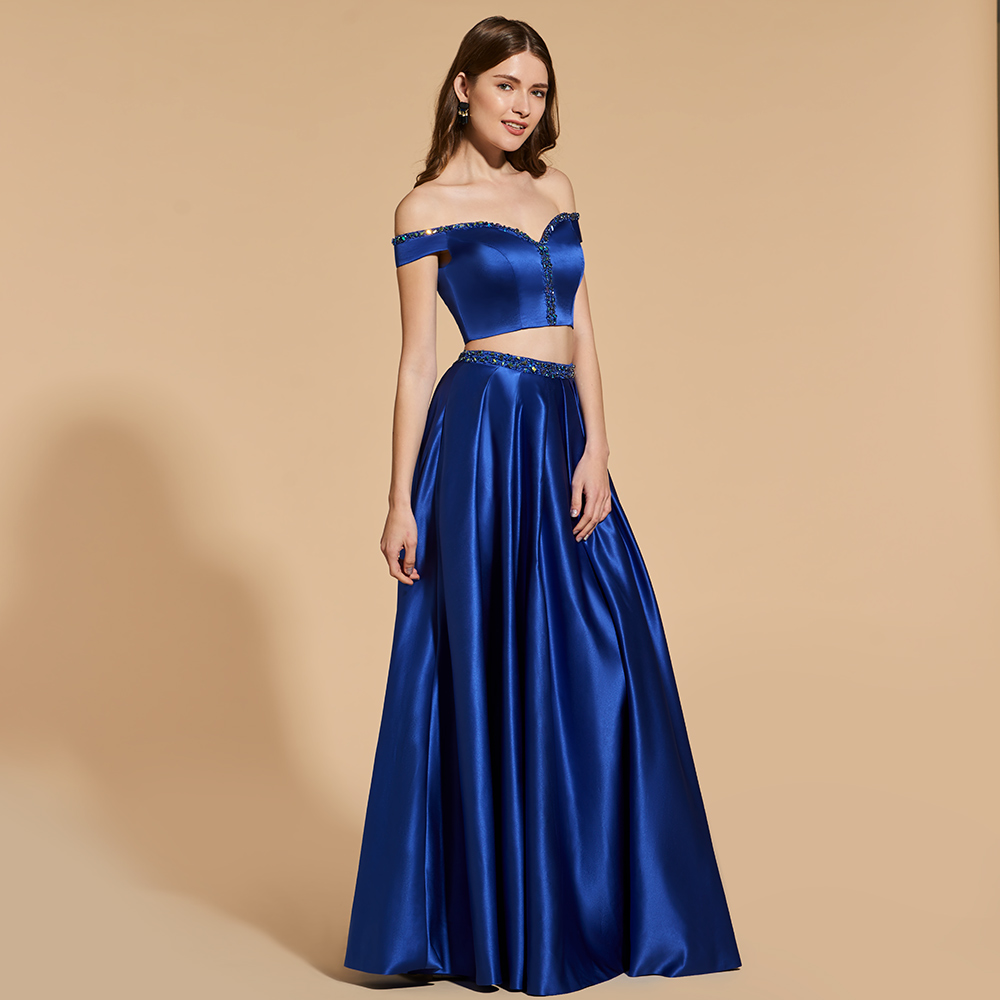 d23749bbcea Dressv dark blue beading long prom dress crop top empire waist zipper up  simple a-line two pieces evening party gown prom dress