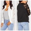 2016 Autumn Winter Women Lace Sleeve Zipper Cardigan Jackets Long Sleeve Blouse Sweater Outwear Black White Basic Jacket Coa