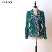 Purebliss verde borde crudo patchwork capa de la chaqueta de tweed 2017 de la pista de alta calidad de diseño elegante formal