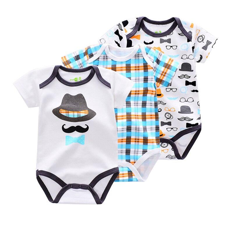 百思买 ) }}3pcs Baby Bodysuits Cotton Infant Body Jumpsuit Short Sleeve Clothing Cartoon Printed