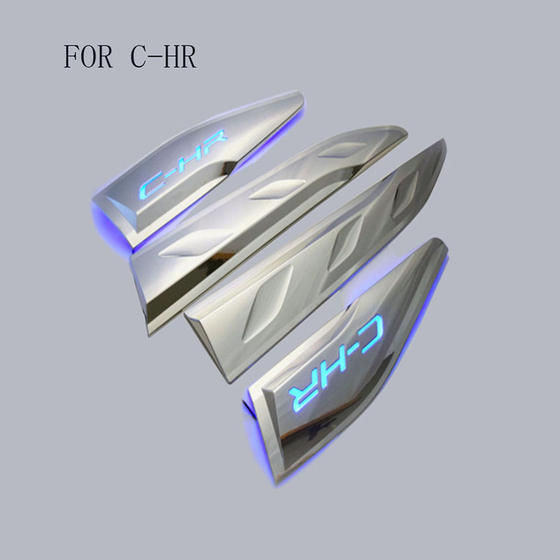 Car Styling ABSCar Body Below Side Moulding Strip Decorative Cover Trim with led fit For Toyota C-HR CHR 2016 2017