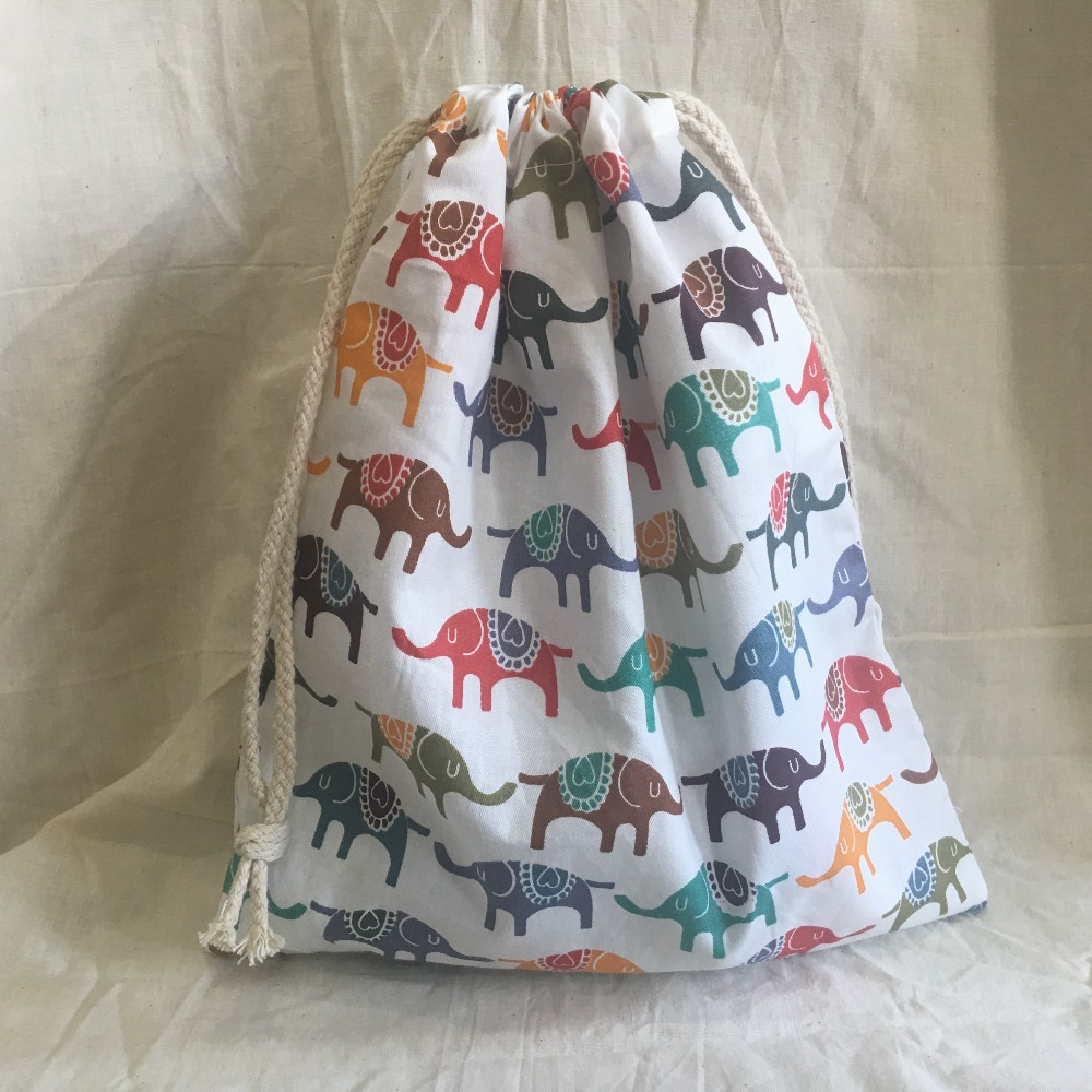 Cotton Drawstring Eco Organized Pouch Party Gift Bag Print Elephant White Base YL311c