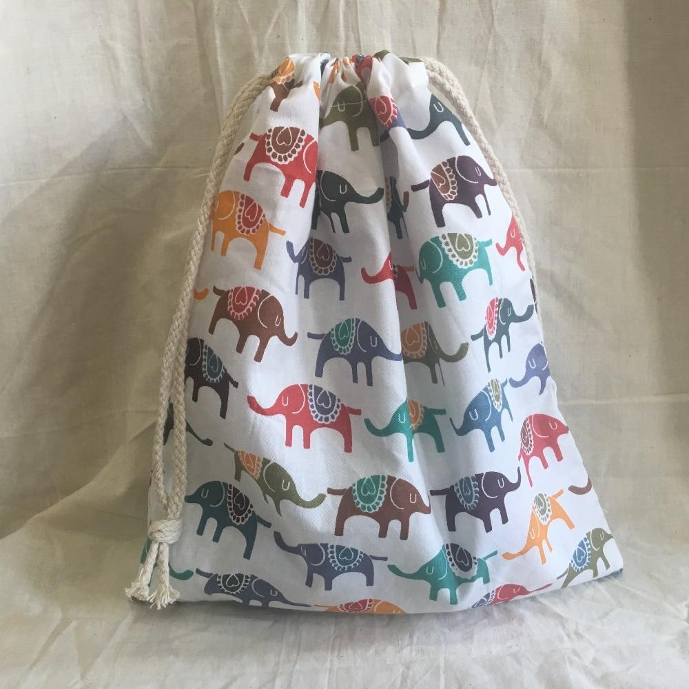 Cotton Drawstring Eco Organized Pouch Party Gift Bag Print Elephant White Base YL311c