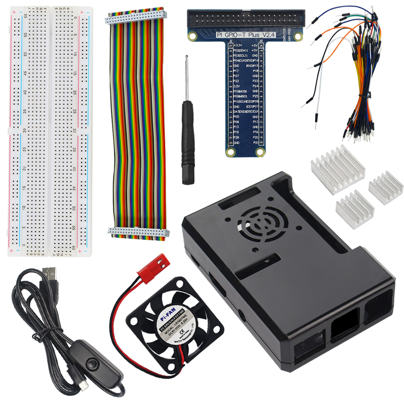 Raspberry Pi 3 Part Kit ABS Case + Power Cable + Cooling Fan +Heat Sink+ Gpio Board Cable For Raspberry Pi 3/2 Model B/B+