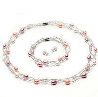 מילת כסף סטרלינג 925 אמיתי זול מתנת נשים ריצת נפח, טבעי מים מתוקים שרשרת פנינים, שרשרת, צמיד, עגיל