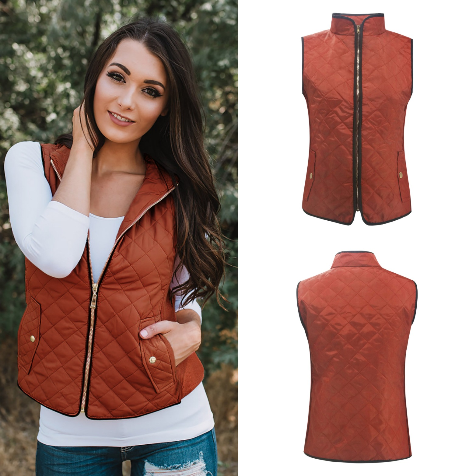 costume 2018 autumn and winter slim sheath basic woman vests casual solid pockets zippers v neck cute fashionsexy female vests