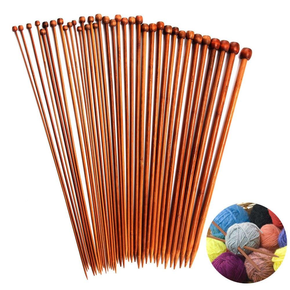 36PCS/Set 18 Sizes Single Pointed Carbonized Bamboo Knitting Needles 2mm - 10mm Weave Sweater Knitting Tools