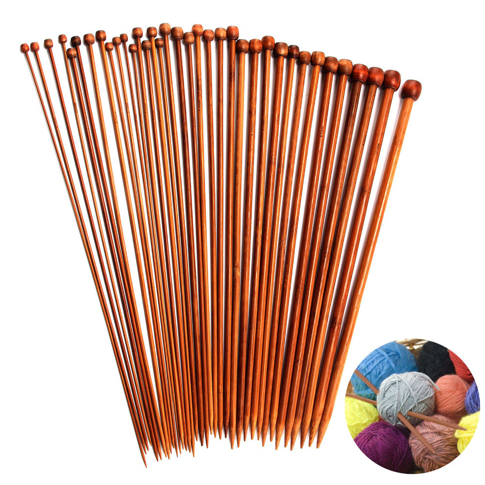High Quality Set 36pcs Single Pointed Bamboo Knitting Needles Case 2mm 10mm ZX
