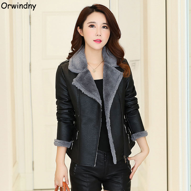 Orwindny Autumn Winter Thick Warm Fur Leather Coat Women Plus Size 5XL Leather Clothing Outerwear Female Suede Turn-down Collar