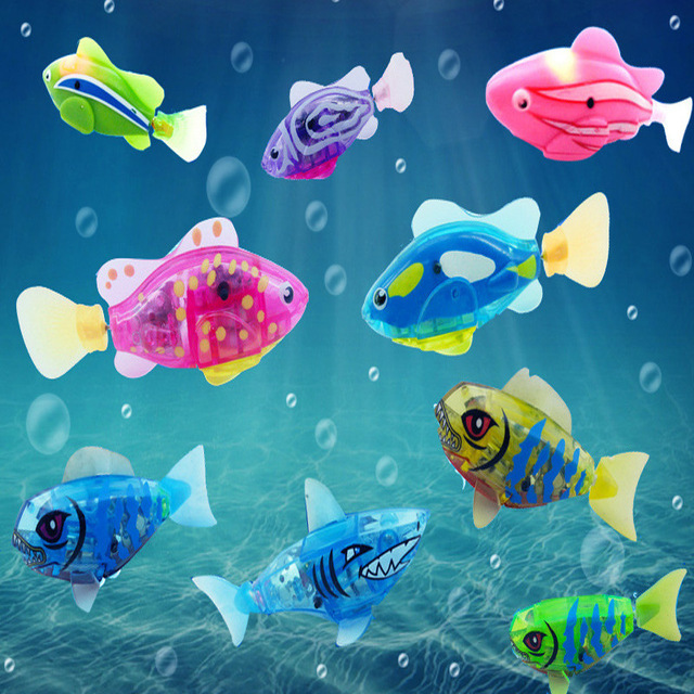 1Pcs New Baby Toys Swimming Led Light Fish Activated Battery Powered Robot For Bathing Send By Random ALLIKE ABCYI