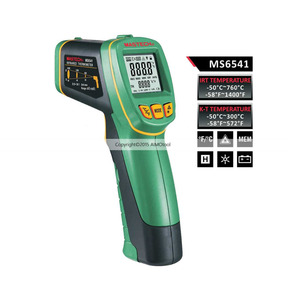 Mastech MS6541 Long distance Non-Contact Infrared Thermometer D:S =30:1 with k typ probe typ 660