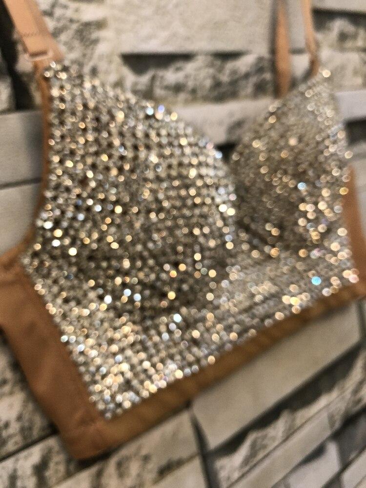 Women New Bright Night Sexy Rhinestone Gaga Bustier Pearls Push Up Night Club Bralette Bra Cropped Top Corset Plus Size C661