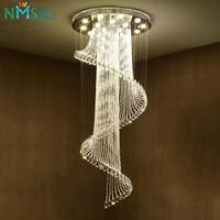 Современный роскошный большой Роскошные хрустальные люстры длинные винтовая лестница светильники для отель Гостиная вилла