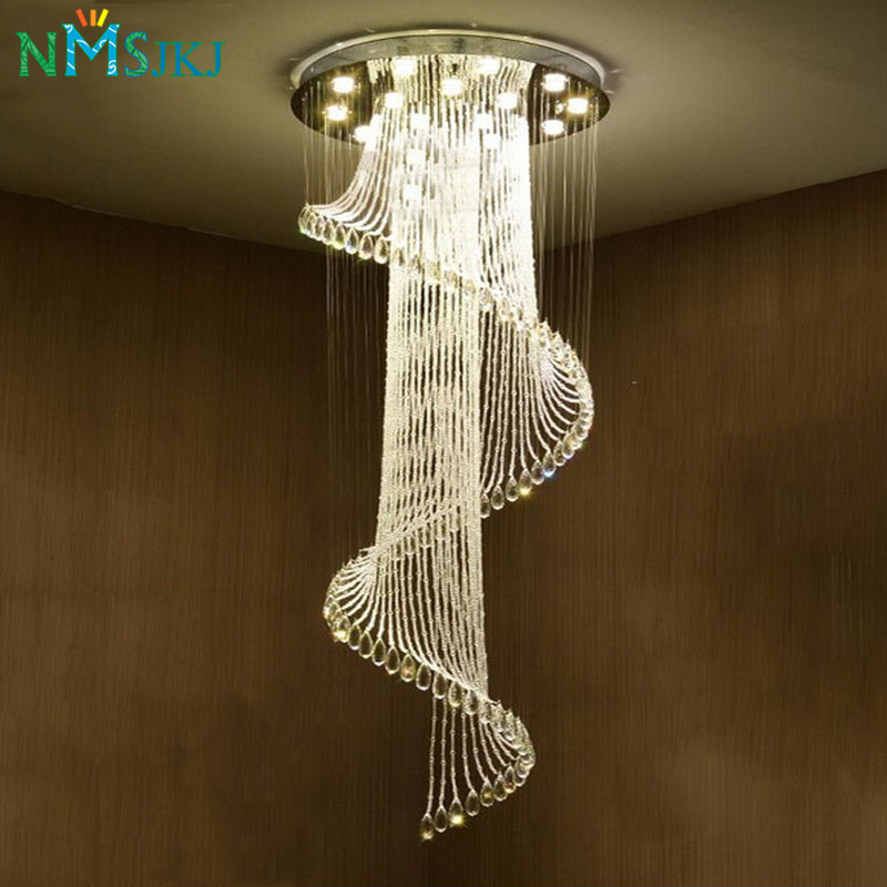 Modern Luxury Large Luxury Crystal Chandelier Long Stair