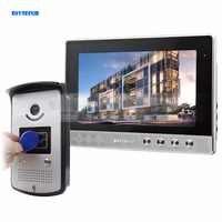 DIYSECUR 10 cal przewodowy telefon drzwi dzwonek do drzwi wideo bezpieczeństwa w domu domofon RFID kamera LED kolor nocny z tyłu