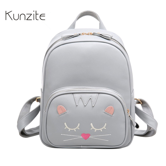 Kunzite Brand Women Backpack Small Size Black PU Leather Women s Backpacks  Fashion School Girls Bags Female Back Pack mochilas 1db221fd868c2