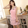 2016 M-XXXLHigh Quality Big Fashion Cute Printed Summer Sexy And No Sleeve Pajamas Vest Votton Dress Pajamas Wholesale Clothing