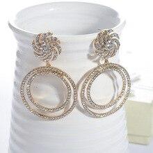 personality  fashion earrings crystal round drill retro trendy vintage rhinestone bohemian jewelry