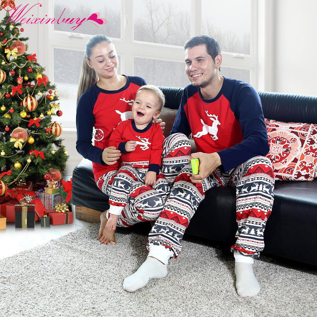 family christmas pajamas set warm adult kids girls boy mama sleepwear mother daughter clothes matching family