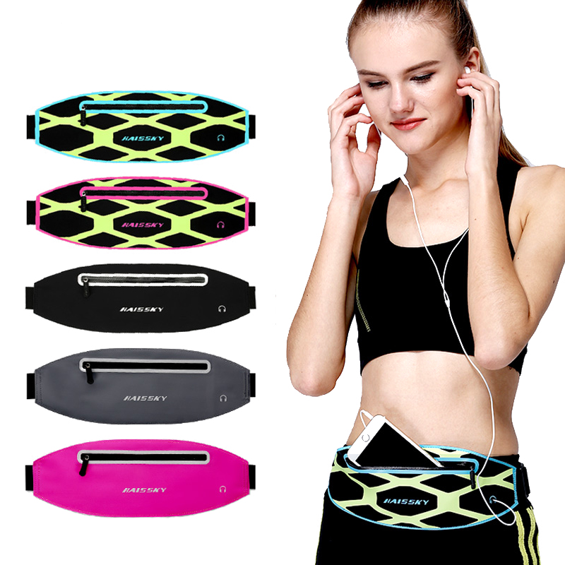 Haissky Ultra Thin Running Waist Pack Bag Adjustable <font><b>Belt</b></font> Universal Sport Phone <font><b>Case</b></font> For <font><b>iPhone</b></font> X Samsung A50 A70 A30 A40 Pouch image